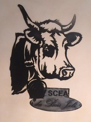 """La vache et sa cloche une enseigne réalisé pour la """"SCEA du Bois Joli"""""""